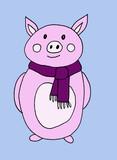 Hand drawn new year winter pig