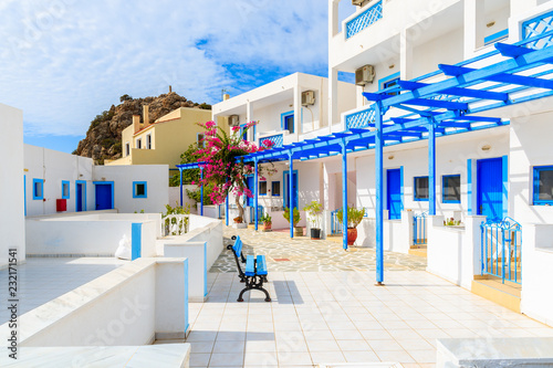White typical Greek apartments in Ammopi village on Karpathos island, Greece