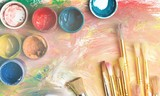 Composition of dirty painting brushes - 232172353
