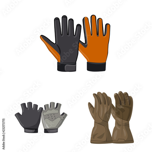 Vector design of glove and winter logo. Collection of glove and equipment stock vector illustration.