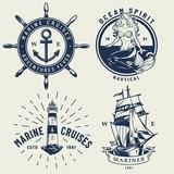 Vintage monochrome nautical logos set