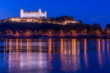 Picture of Bratislava capital city of Slovakia during evening from petrzalka shore.