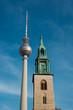 Berlin Tv Tower (Fernsehturm) and St. Mary`s Church (Marienkirche)  -