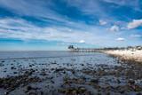 bord de mer en Vendée avec des galets et une maison sur pilotis au loin - 232188923