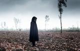 Woman in black cape in moody landscape. - 232193956