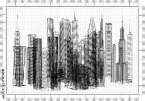 Skyscraper Concept Architect Blueprint