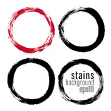 Vector set of hand painted circles for backdrops. Monochrome artistic hand drawn backgrounds. Hand drawn stains round shape set. - 232210917