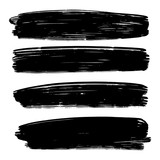 Vector set of hand drawn brush strokes, stains for backdrops. Monochrome design elements set. One color monochrome artistic hand drawn backgrounds. - 232211191
