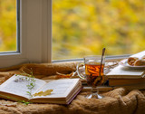 Hot tea in the background of a window and autumn nature. - 232211584