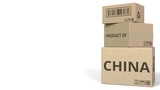 Falling cartons with PRODUCT OF CHINA text. 3D animation - 232212713