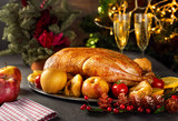 Thanksgiving roasted whole goose on rustic table - 232213741