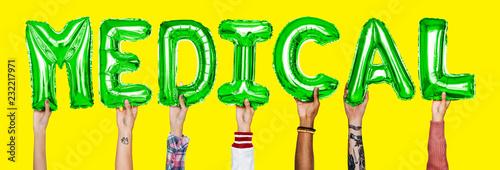 Leinwanddruck Bild Hands showing medical balloons word