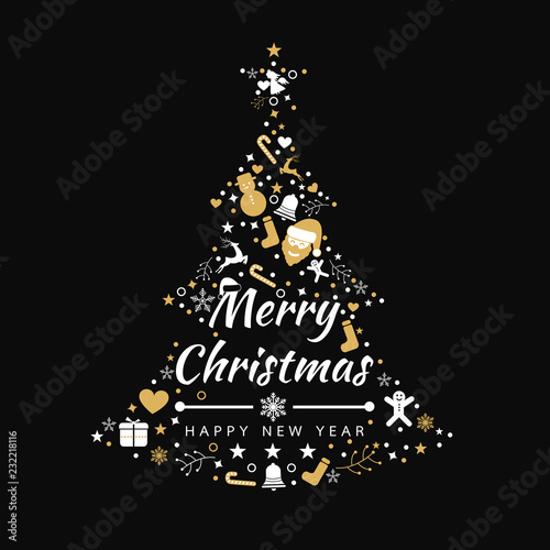 Merry Christmas background with element tree icons banner, snowflakes. Vector illustration