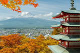 Mt. Fuji and red pagoda with autumn colors in  Japan,  Japan autumn season..