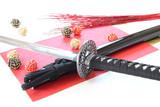 日本刀(偽物)と和紙と水引玉