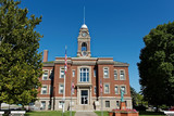 The Decatur County Iowa Courthouse stands in the courthouse square of Leon, Iowa. This courthouse showcases the Renaissance Revival architecture style. - 232226707