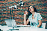 dreamy woman at office - 232227108
