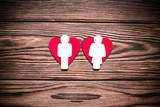 Romantic symbol of a man and a woman near red hearts  - 232237358