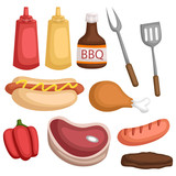 a vector set of many food and sauce for barbeque - 232238129