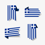 Greek flag stickers and labels. Vector illustration. - 232238798