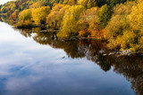 Fluß Ufer Laub mit Herbst Farben - 232242958