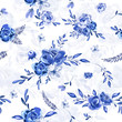 Seamless blue floral pattern. - 232245100