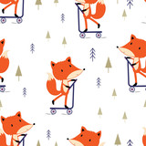 pattern with cute fox - 232248142