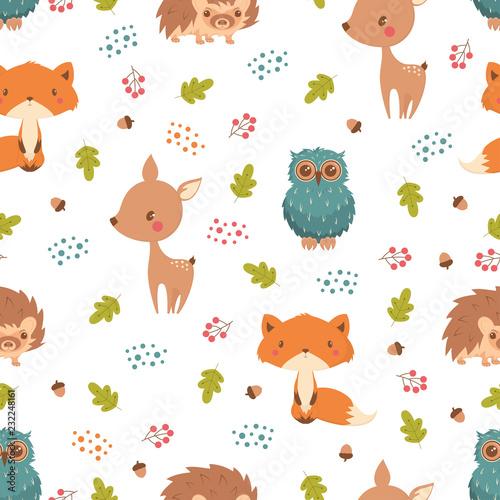 obraz lub plakat pattern with forest animals