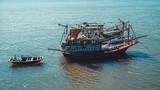 Old fishing boats in the sea in Ha Long Bay. Vietnam - 232248500