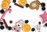 Christmas toys on a white wooden table. Christmas background. Space for text. Christmas decoration.