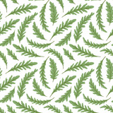 Green salad repeated background. Seamless pattern with fresh green leaves of ruccola (arugula, rocket salad). Vector illustration. - 232254911