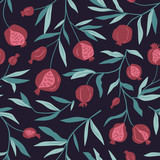 Tropical seamless pattern with pomegranate trees. Fruit repeated background. Vector bright print for fabric or wallpaper. - 232255319