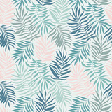 Seamless pattern with tropical leaves. Beautiful print with hand drawn exotic plants. Swimwear botanical design. Vector illustration. - 232255326