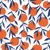 Tropical seamless pattern with red oranges. Fruit repeated background. Vector bright print for fabric or wallpaper. - 232255337