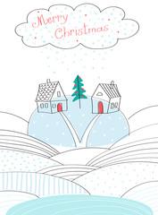 Рождественская открытка на белом фоне. Домики стоят на холме, между ними зелёная ёлка, украшенная красными шариками. В верхней части открытки расположено снежное облако с надписью красного цвета. © ele_nik