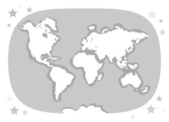 World map with continents, atlas, planet Earth. white and gray. Applicable for Banners, Posters for children's interiors in Scandinavian style. Vector
