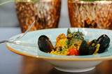 Plate with delicious seafood - 232260536