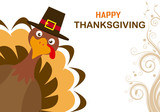 Thanksgiving day card. Turkey with hat. © sonia