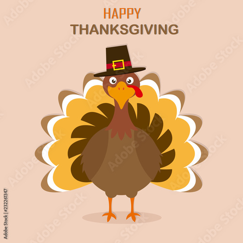 Thanksgiving day card. Turkey with hat. - 232261347