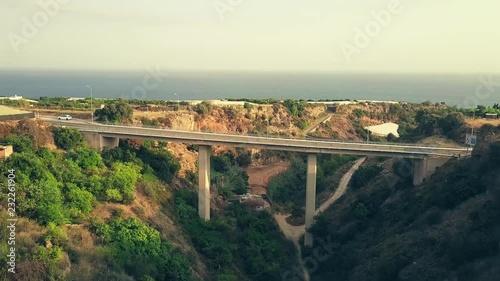 Aerial shot of historic Acueducto del Aguila or Eagle Aqueduct. Nerja, Spain