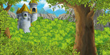 cartoon scene of castle tower with opened window nobody - illustration for children - 232266151