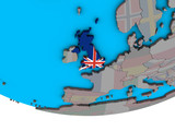 United Kingdom with embedded national flag on simple political 3D globe. - 232267130