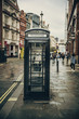London old black telephone booth