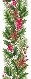 Seamless Border of Christmas Tree and Holly - 232268112