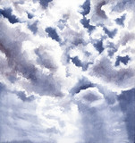 Watercolor Illustration with Clouds and Light - 232268113