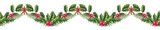 Seamless Festive Christmas Garland with Watercolor Holly - 232268162