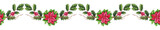 Seamless Garland with Watercolor Poinsettia and Holly - 232268170