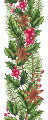 Seamless Border of Christmas Tree and Holly © Nebula Cordata