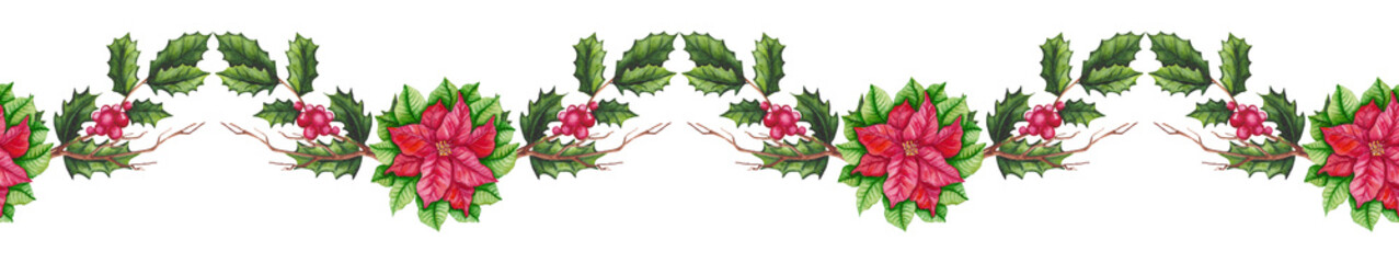 Seamless Garland with Watercolor Poinsettia and Holly © Nebula Cordata