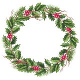 Round Wreath with Watercolor Holly and Berries - 232268301